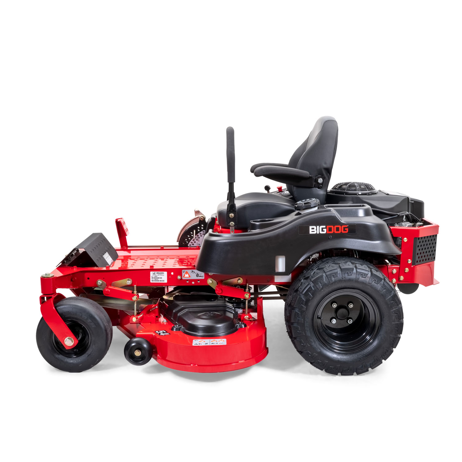 Image of the side of a red riding mower