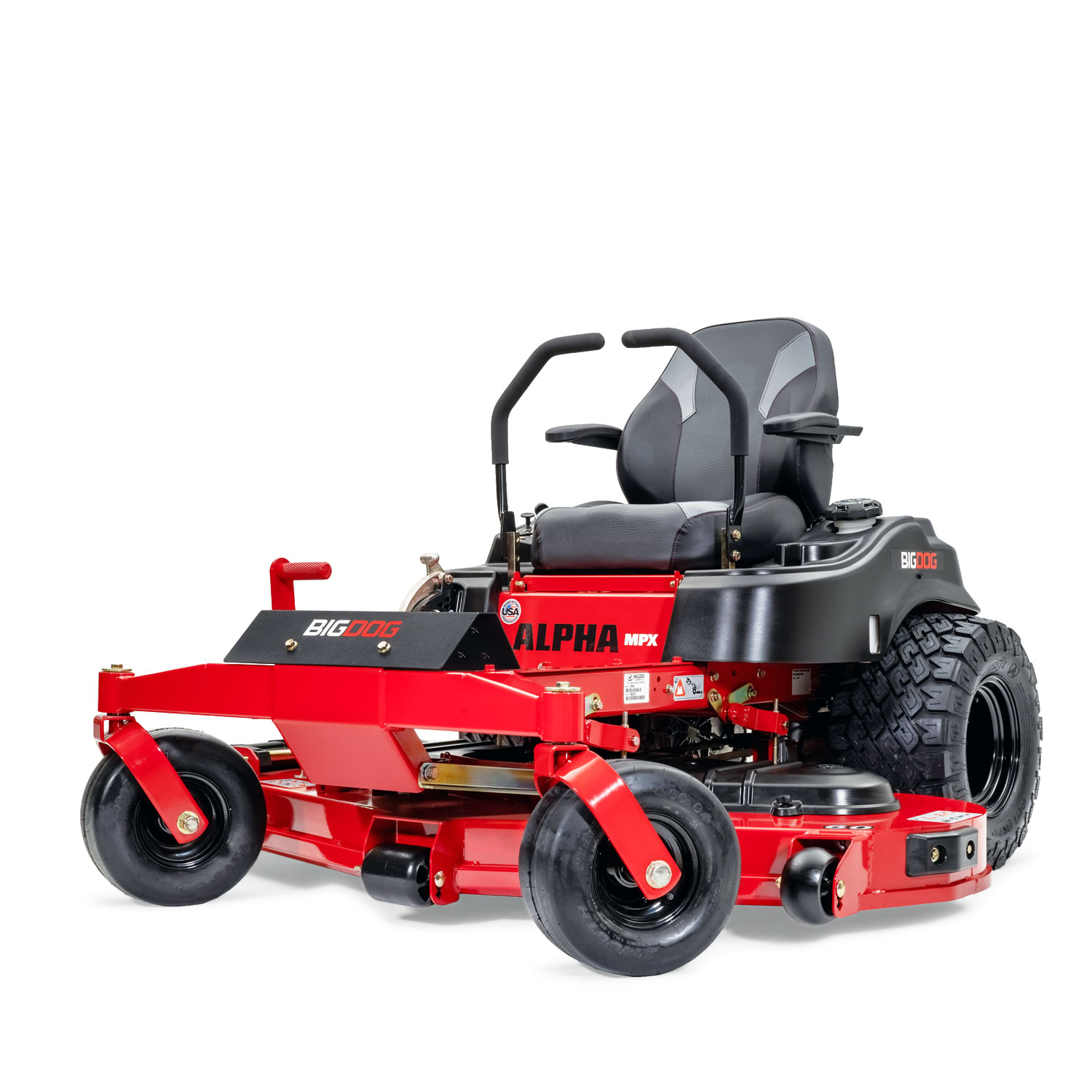 Image of front three quarters of red mower showing trim edge of deck