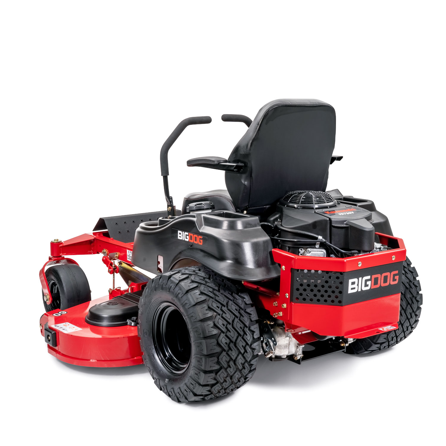 Image of rear three quarters of red mower showing the trim side of the deck
