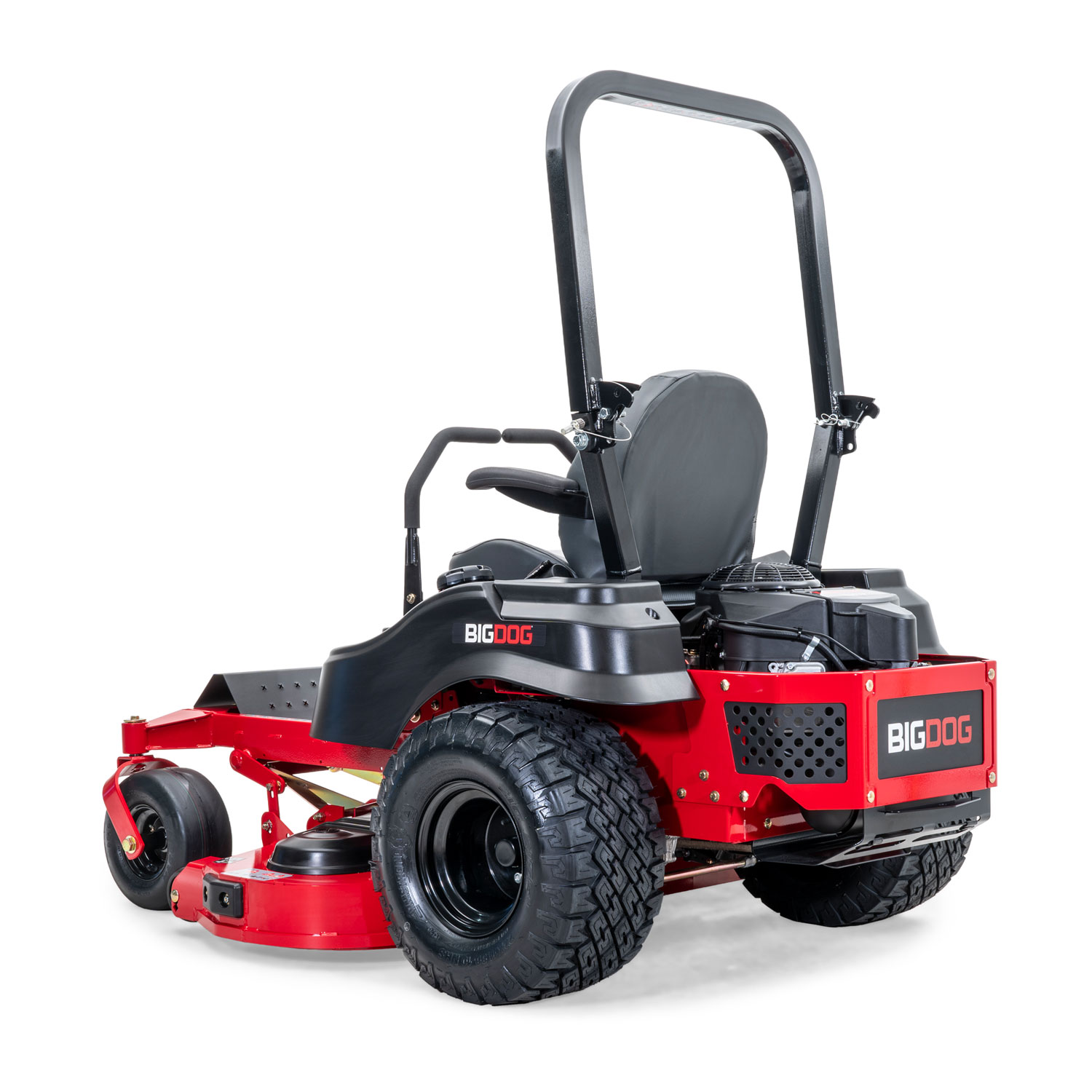 Image of rear 3 quarters of a red zero-turn mower showing the trim edge of the deck