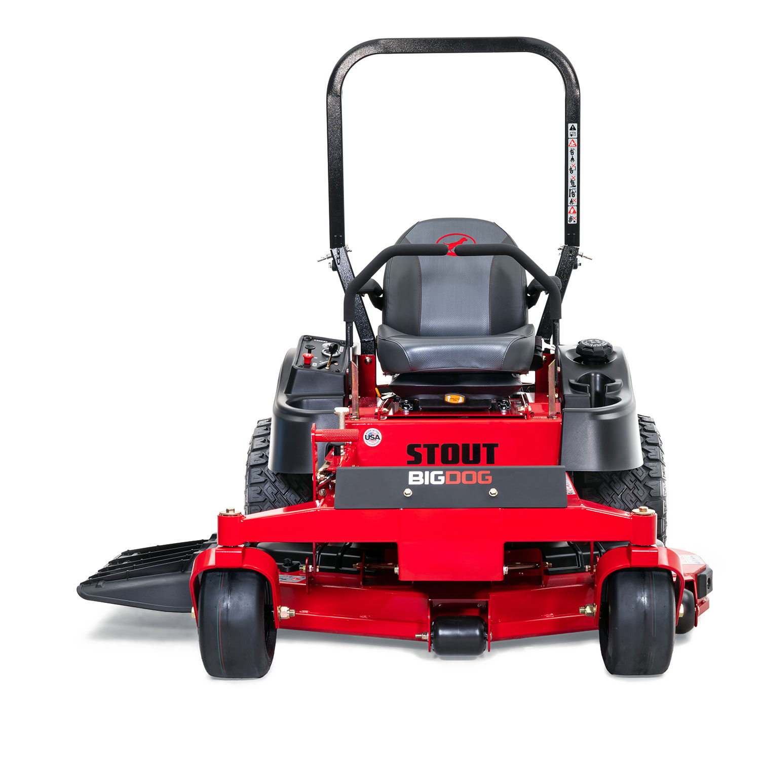 Image of the front of a red zero-turn mower