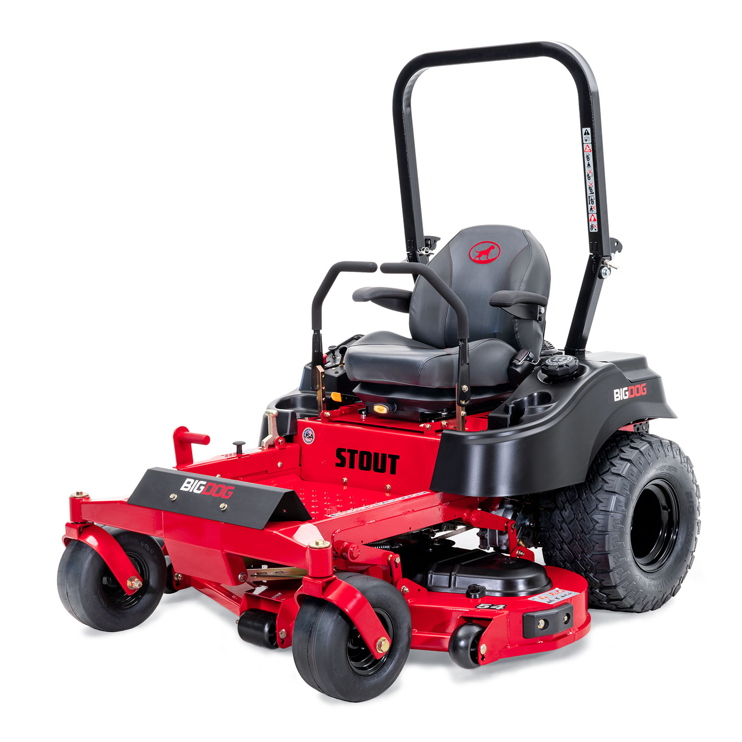 Image of the front three quarters of a red zero-turn mower showing the trim edge of the deck