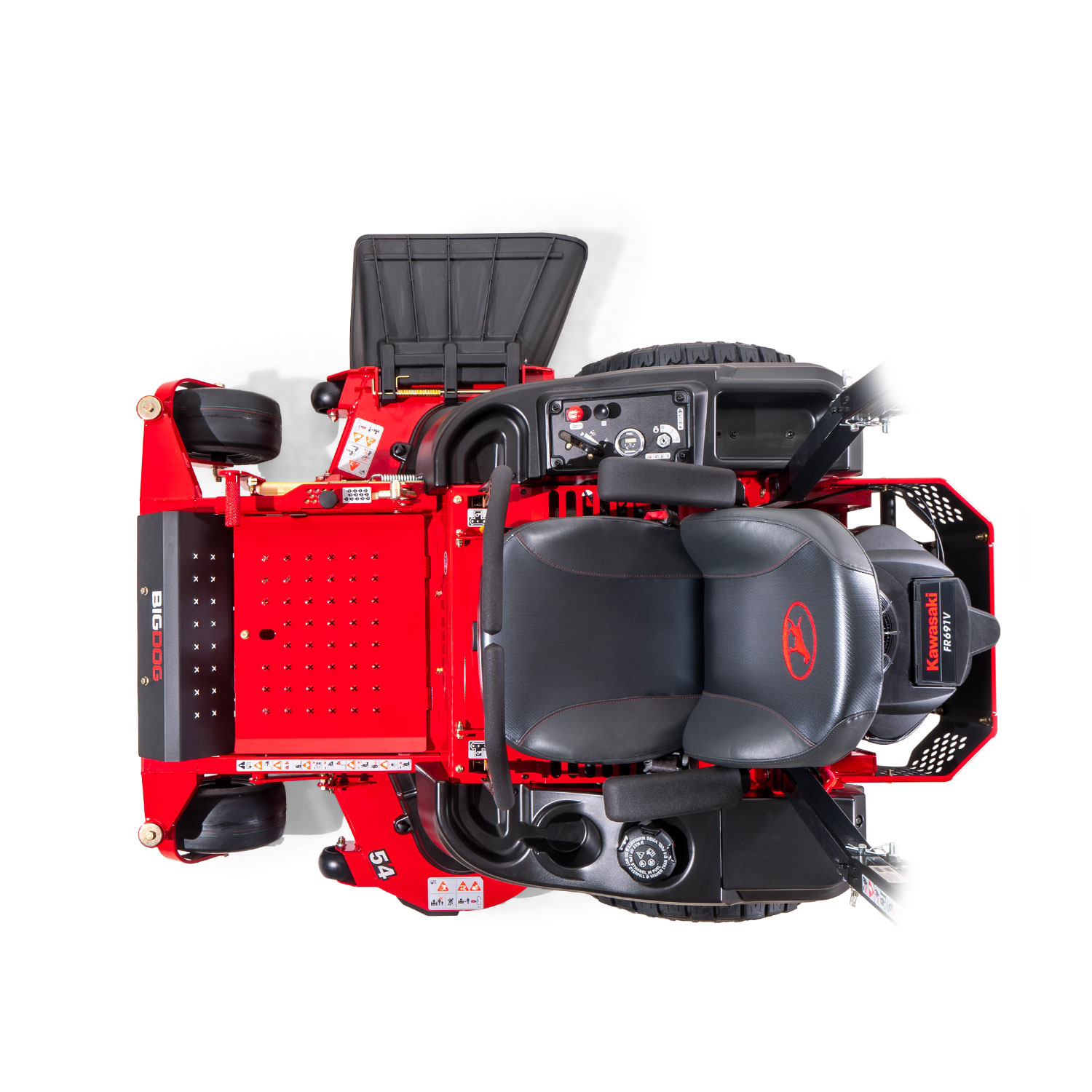 Image of a red zero-turn mower from above