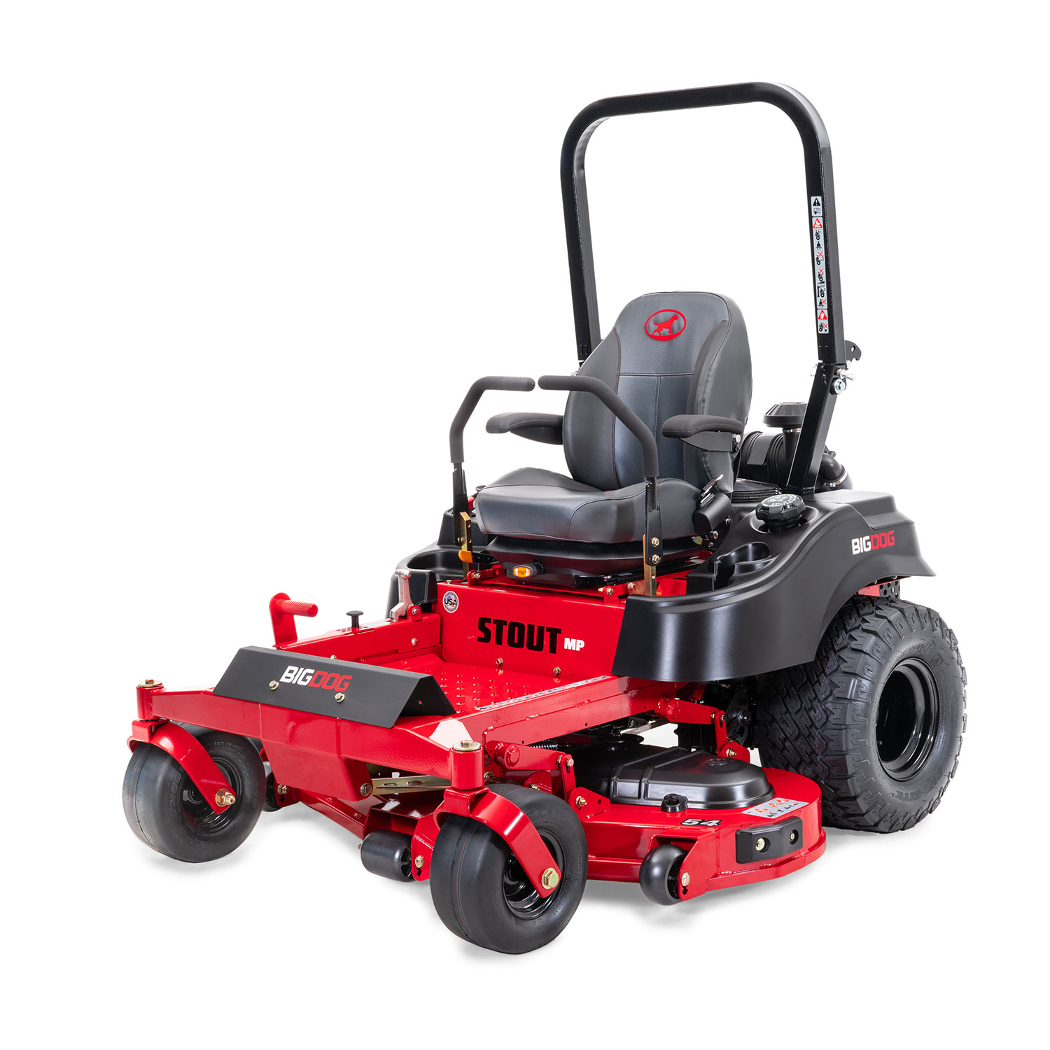 Image of the front of a red riding mower