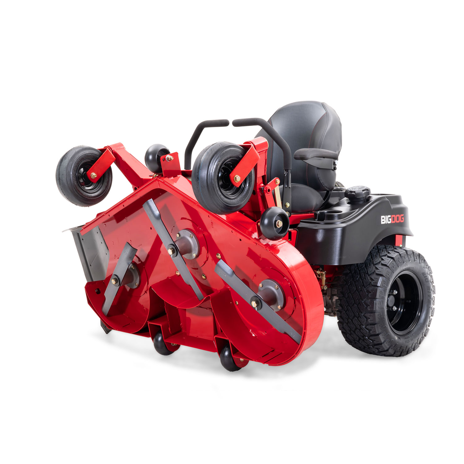 Image of the front three quarters of a red riding mower with the frame folded to see the underside of the mower deck