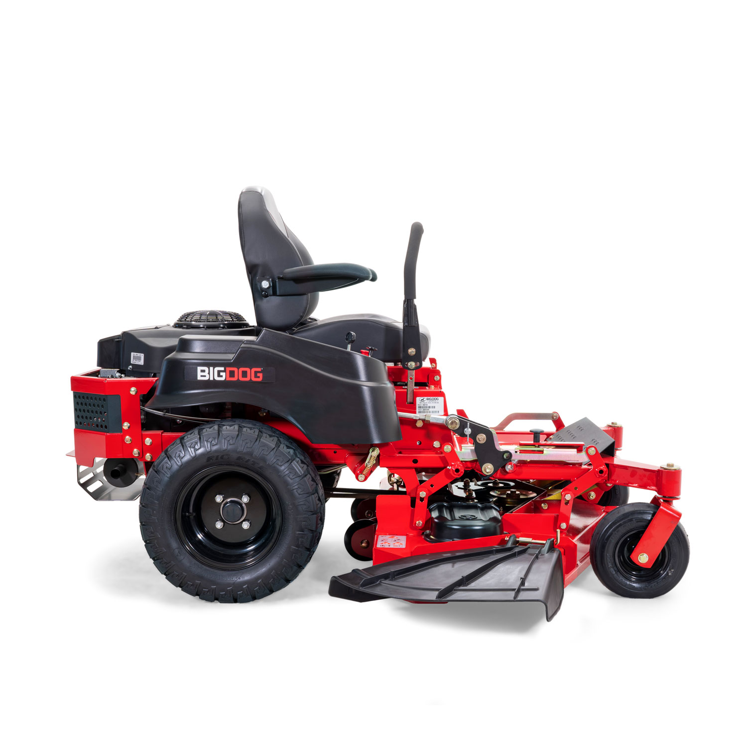 Side view of a red zero-turn mower with the discharge chute shown