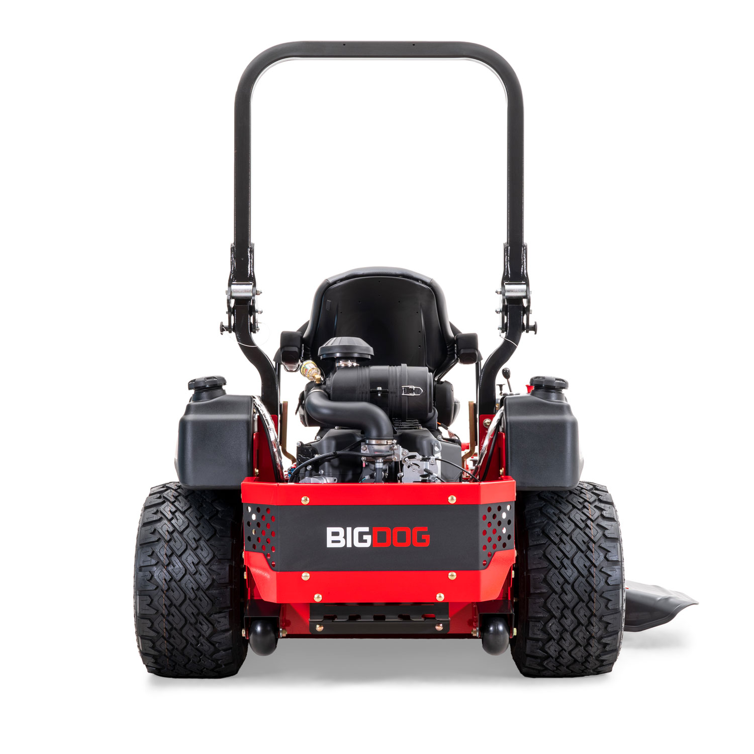 Image of the rear of a red riding mower showing the red and black engine guard