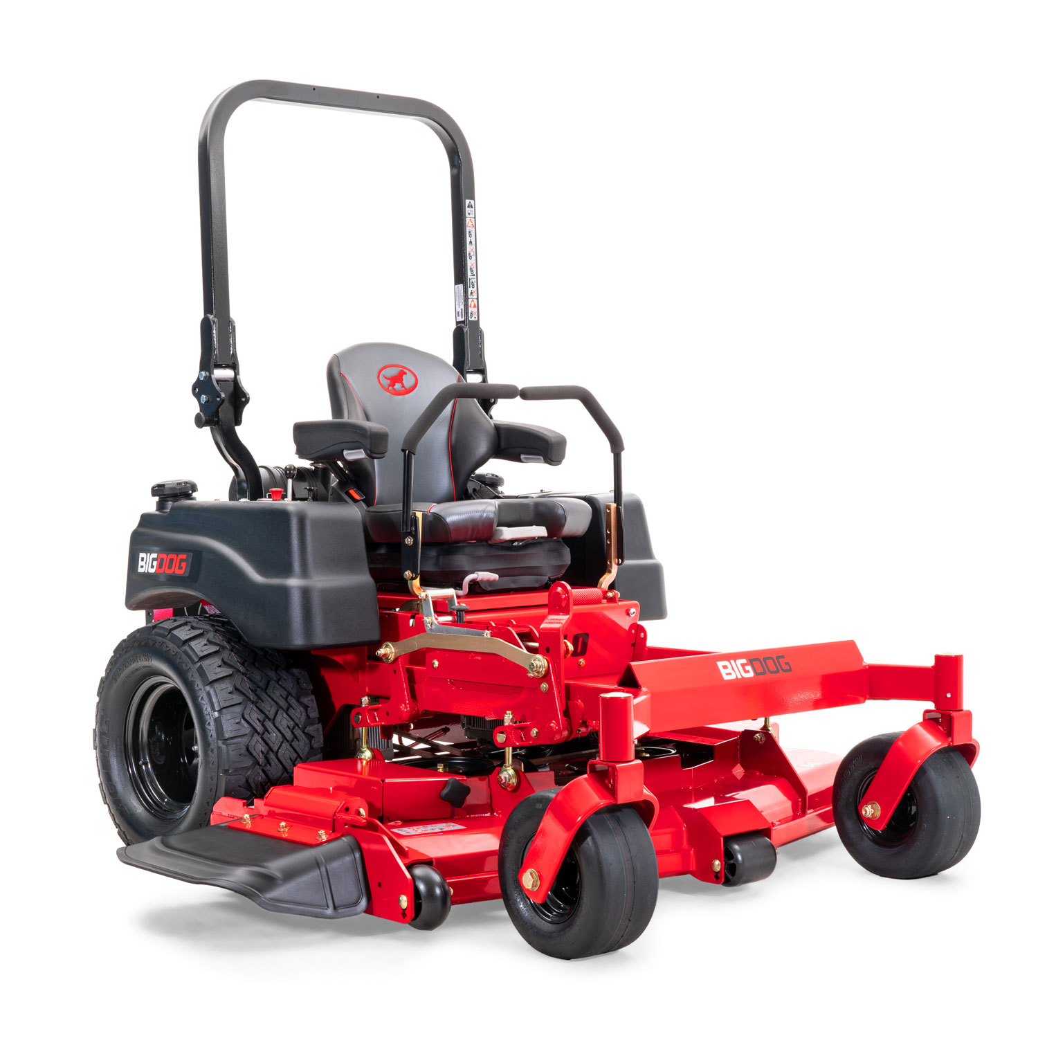 Image of the front three quarters of a red riding mower with the discharge chute shown