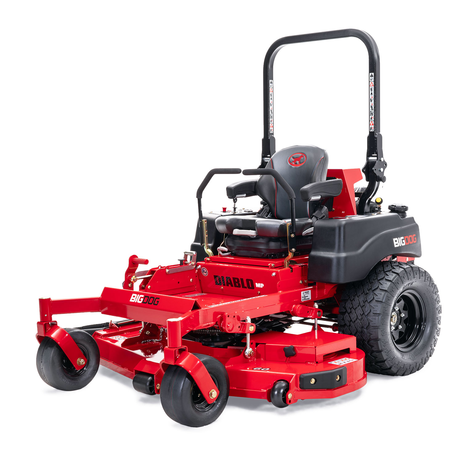 Image of the rear of a red riding mower