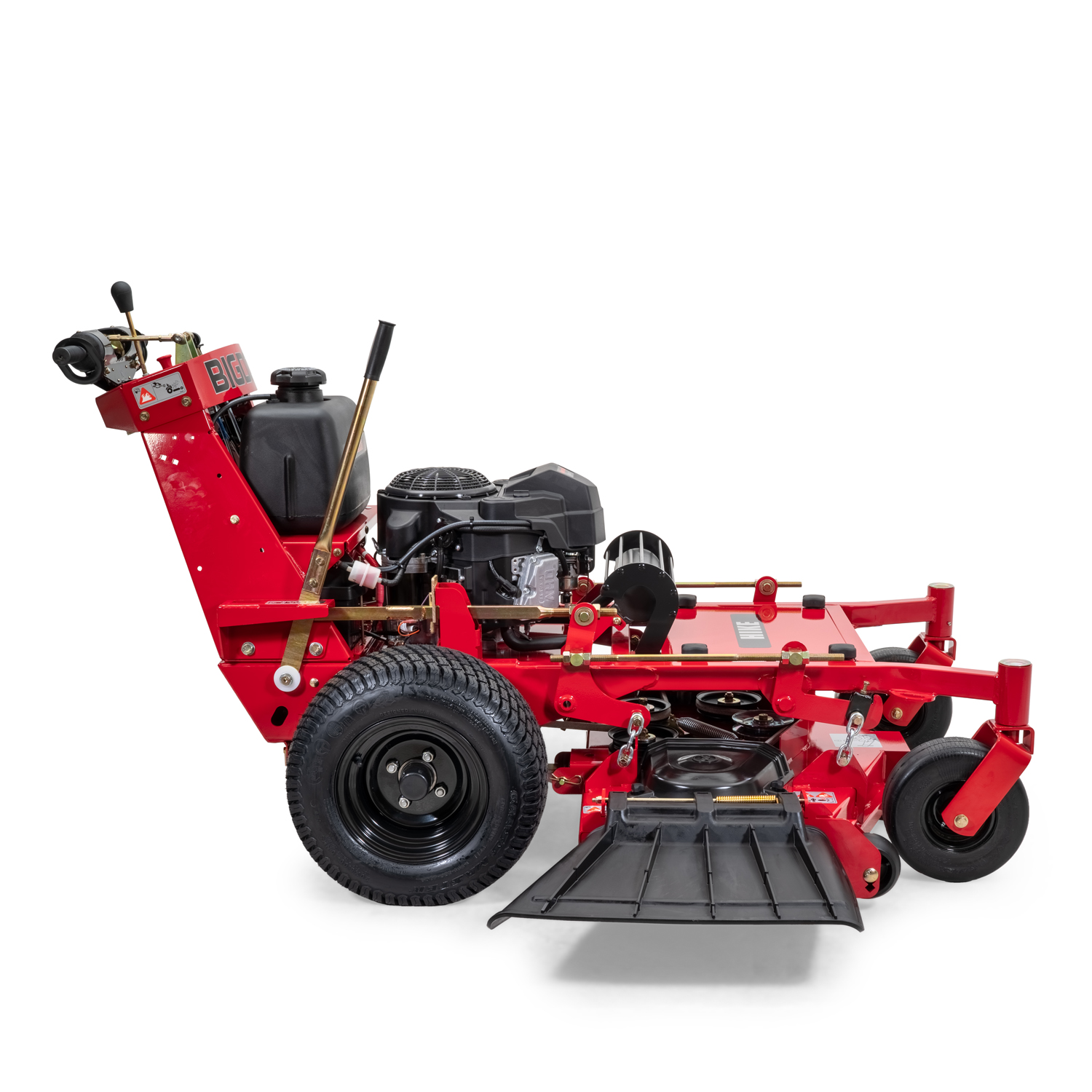 Image of the profile of a red walk-behind mower