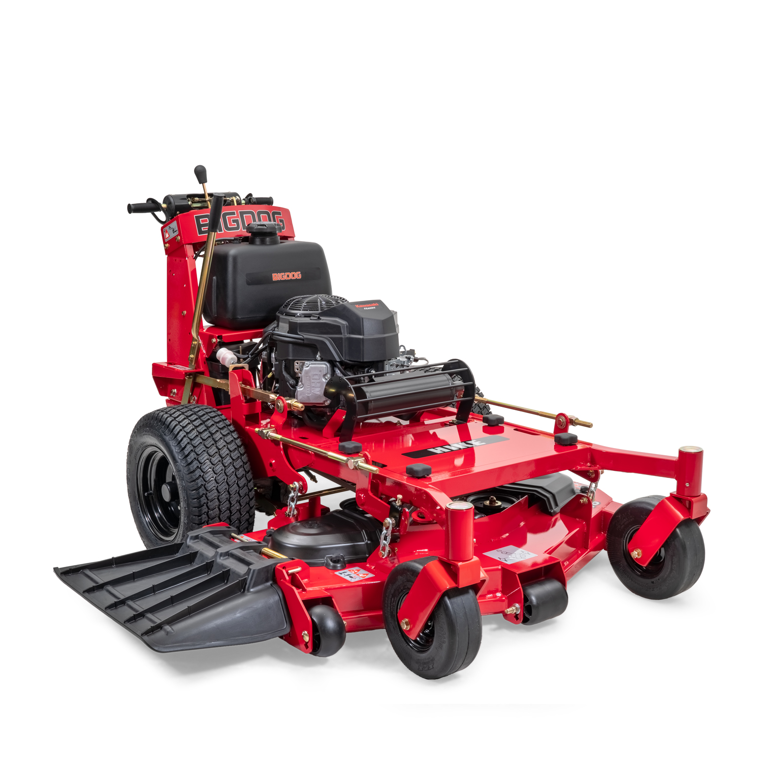 Image of the front three quarters of a red walk-behind mower