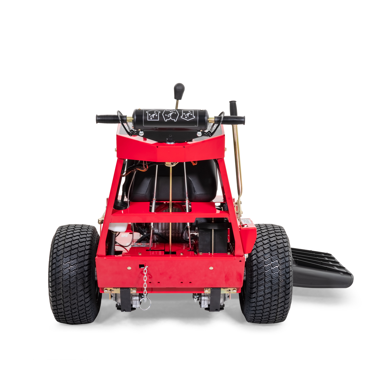 Image of the rear of a red walk-behind mower
