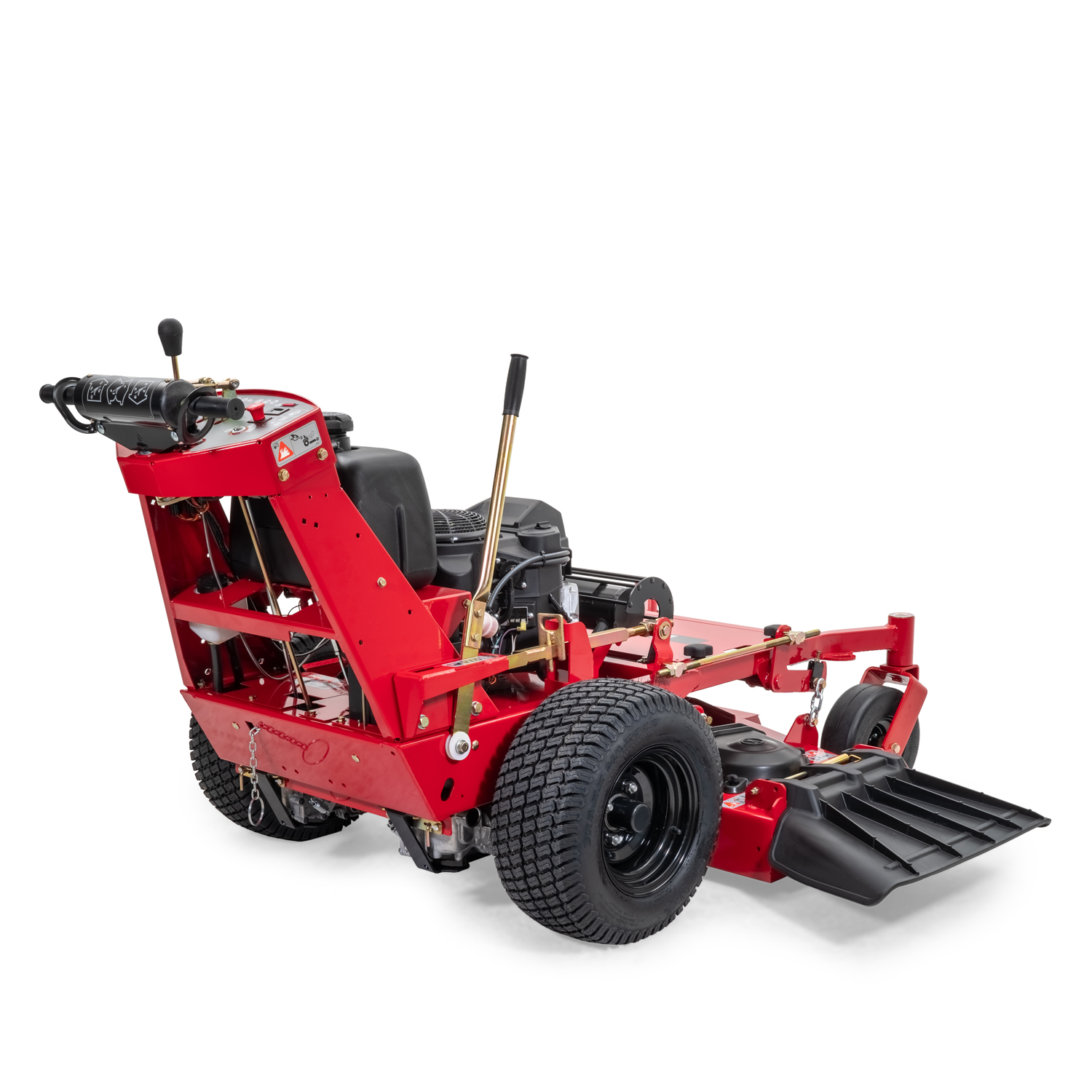 Image of the rear three quarters of a red walk-behind mower