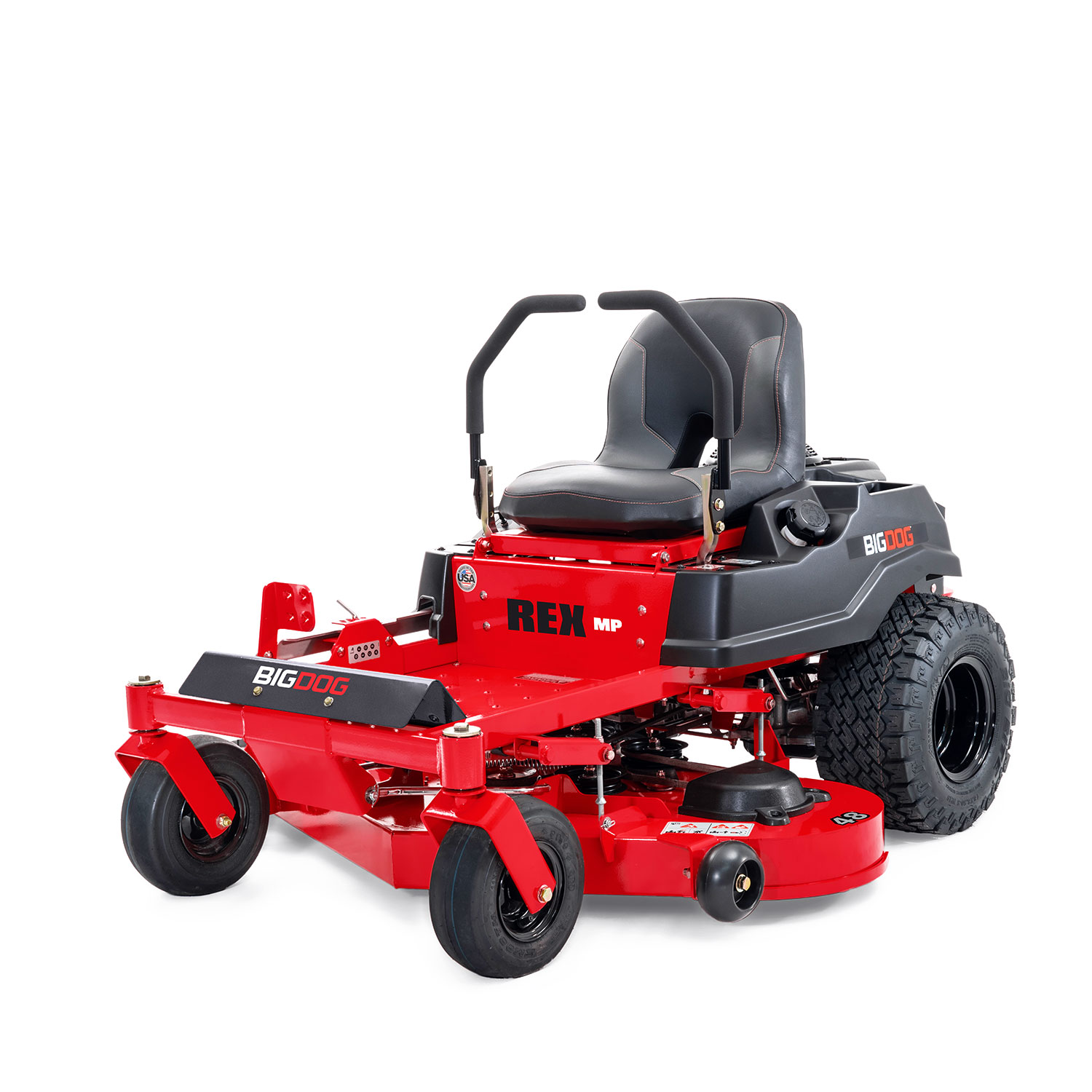 Front three quarters of a red mower