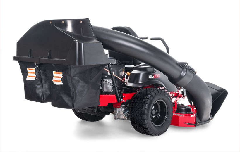 Image of a black catcher on the back of a red zero turn mower.