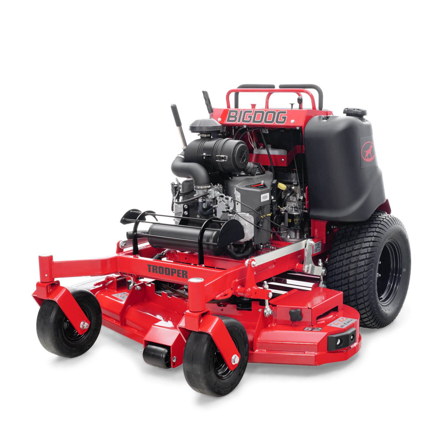 Image of the front three quarters of a red stand-on mower
