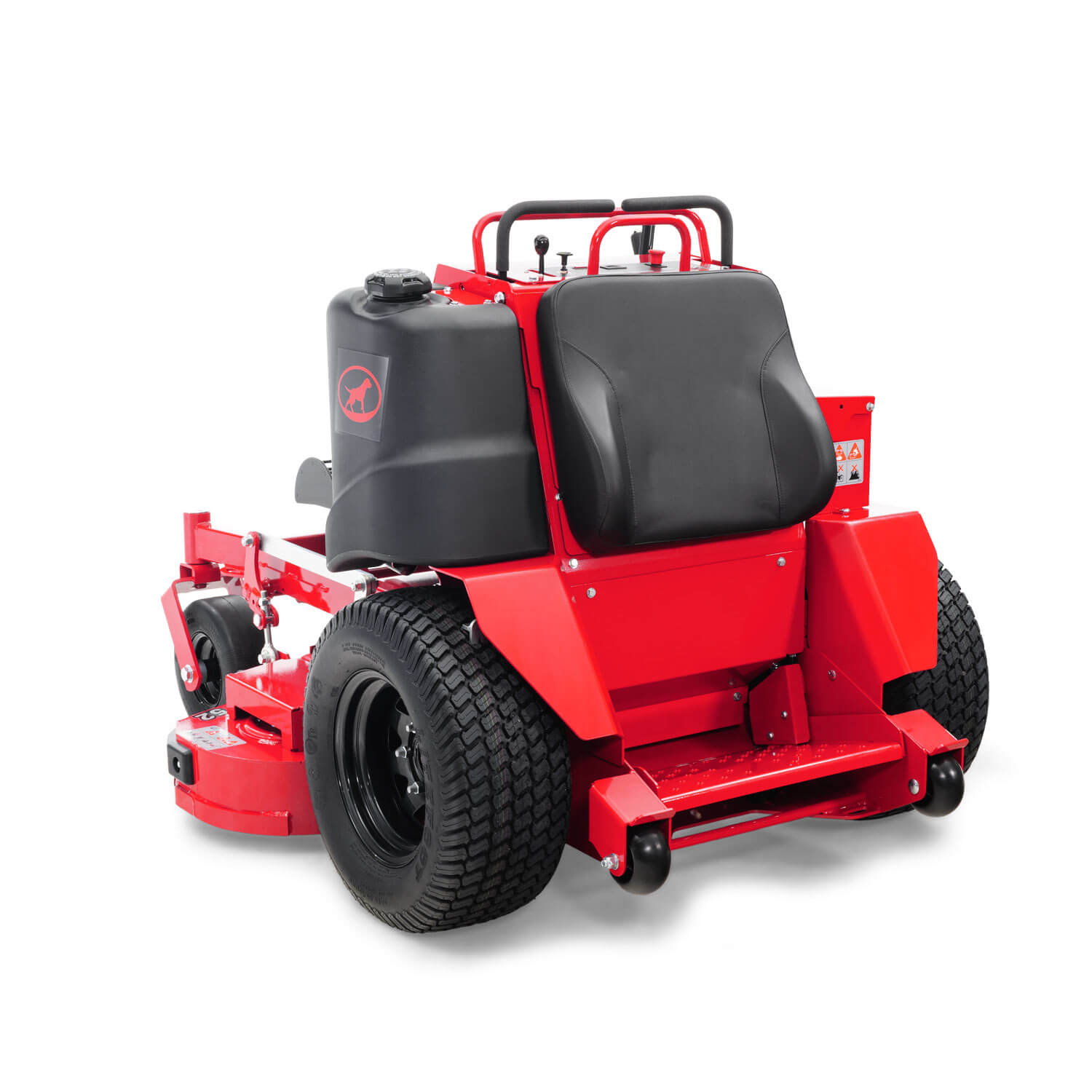Image of the back of a red stand-on mower showing the operator platform