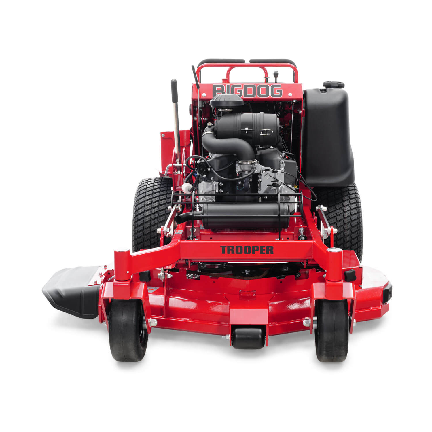 Image of the front of a red stand-on mower