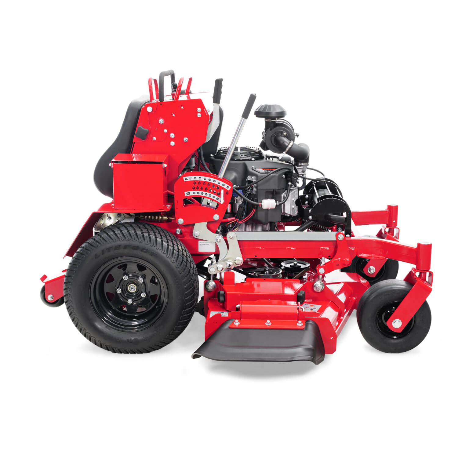 Image of the profile of a red stand-on mower