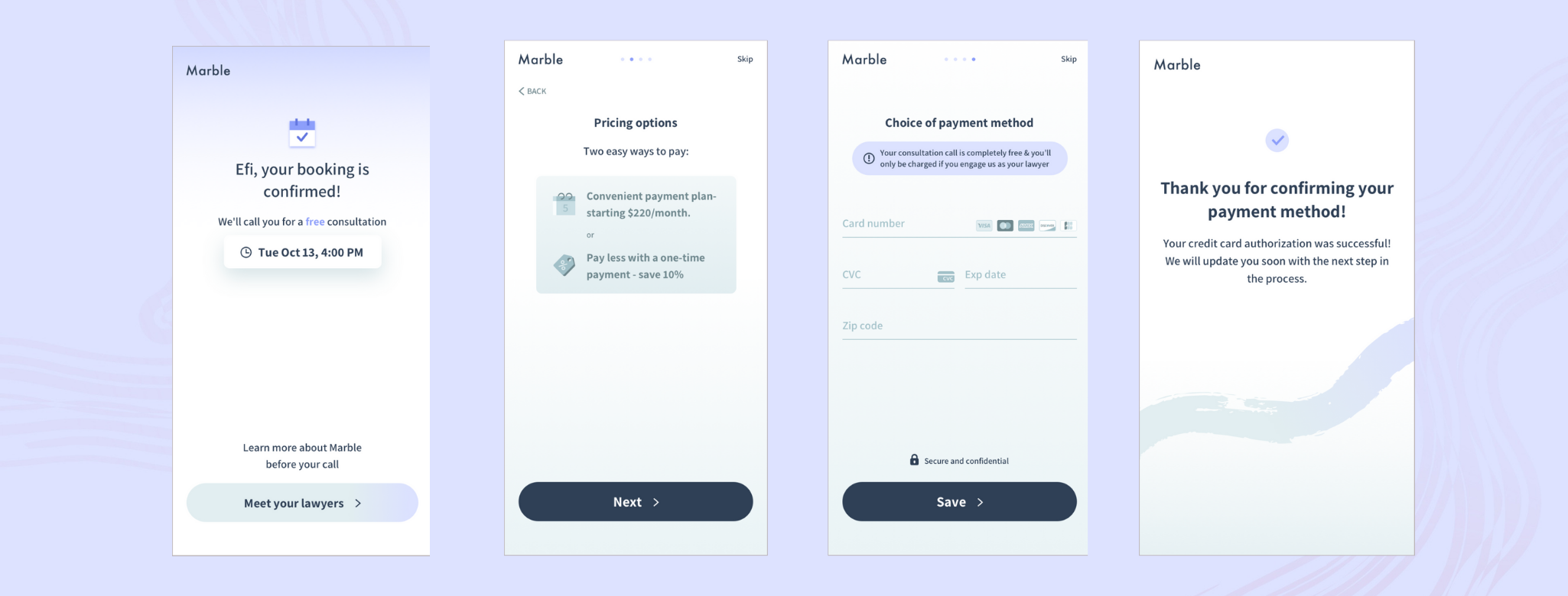Paying for legal services with Marble