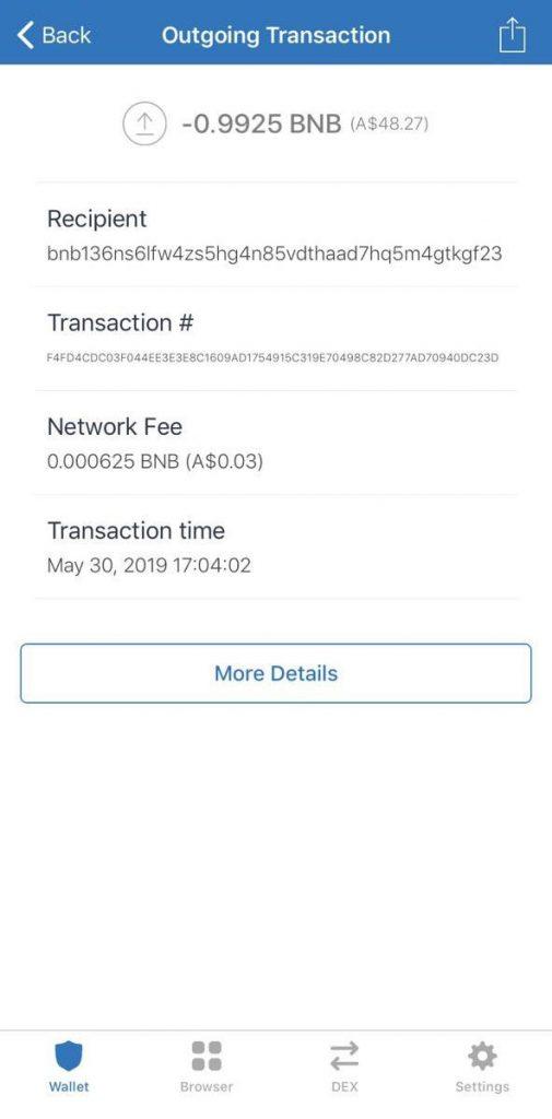 Binance transaction