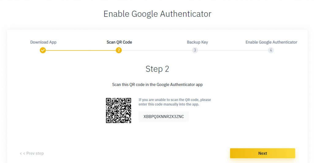 Binance 2 factor authentication Guide for Security QR-code