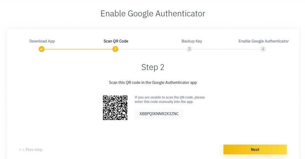 Guía de autenticación de factor 2 de binance para el código QR de seguridad