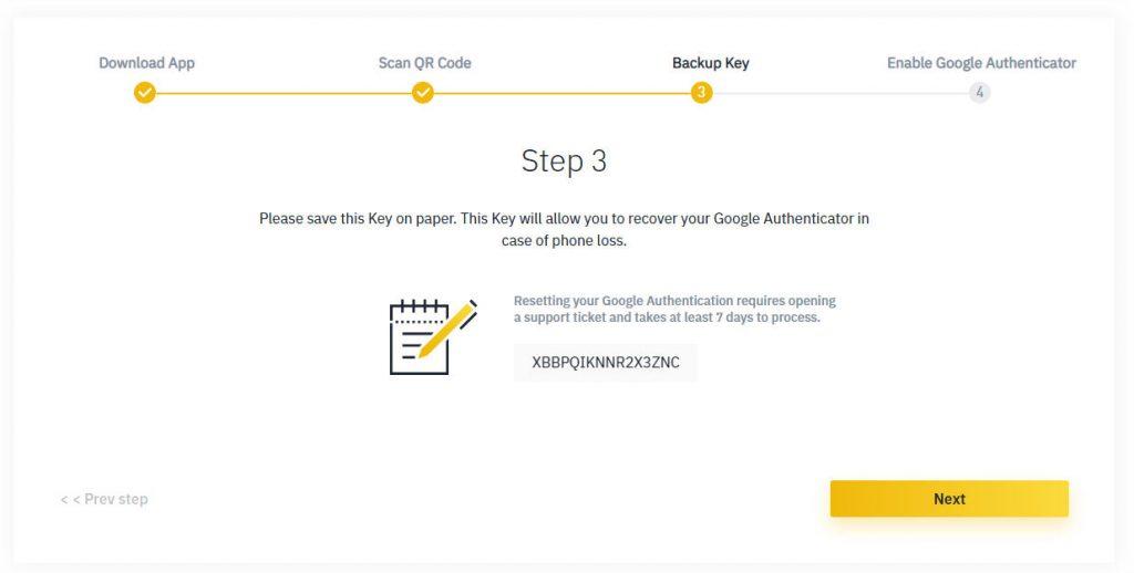 Guía de autenticación del factor 2 de binancia para el código de seguridad