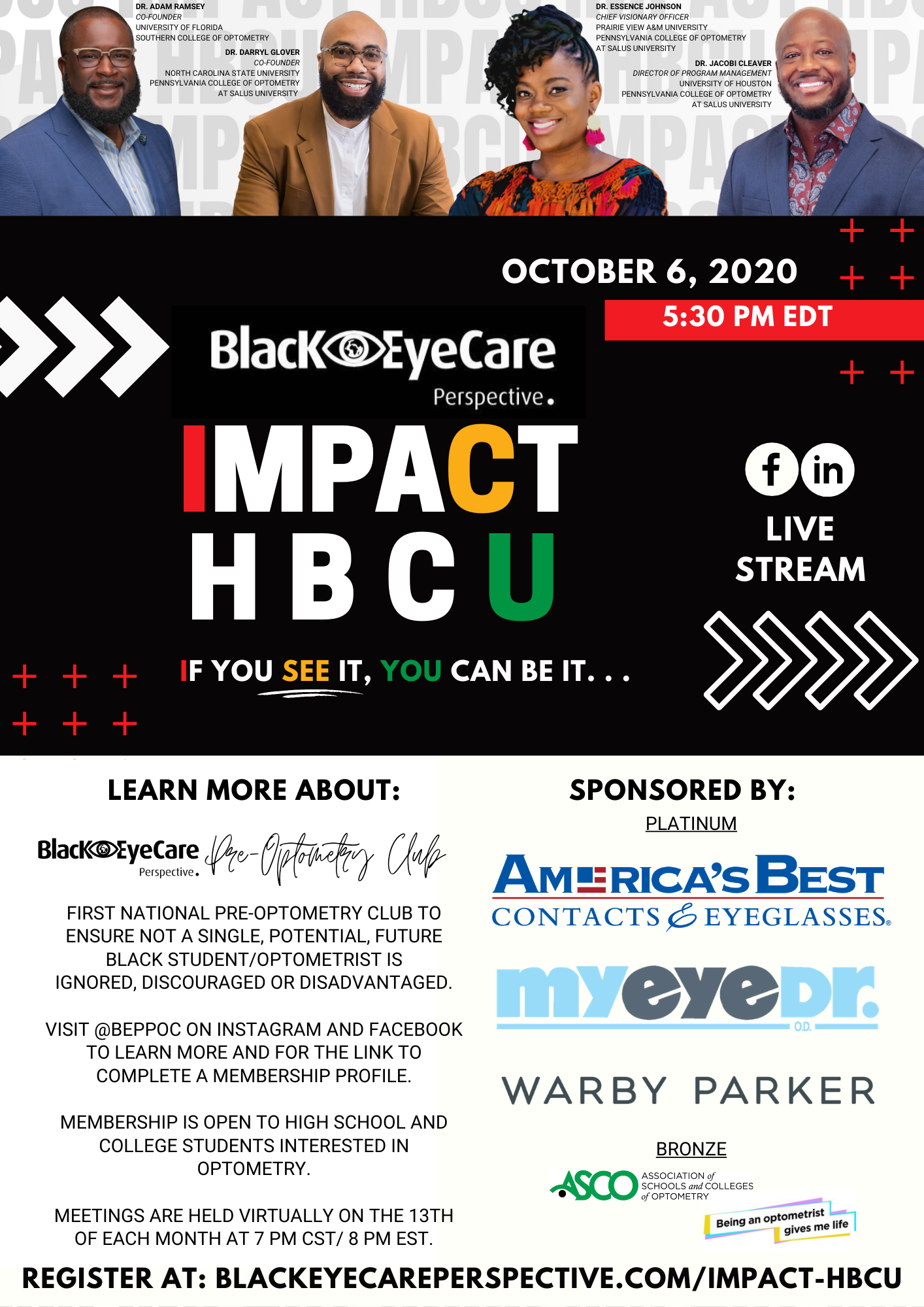 A flyer for the Black EyeCare Perspective Impact HBCU event 2020.
