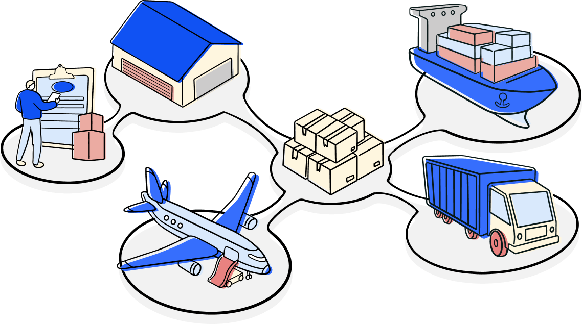 n shipping line, trucker, haulage, air freight, customs house agent and logistics of goods