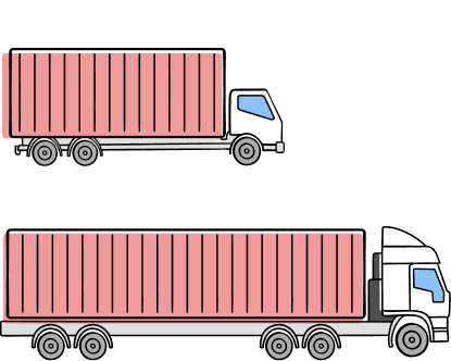 Illustration of 20ft and 40ft trailers