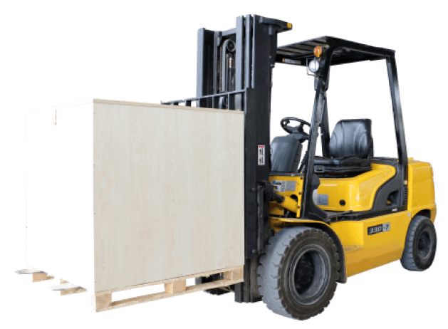 Forklift for factory stuffing or destuffing after haulage