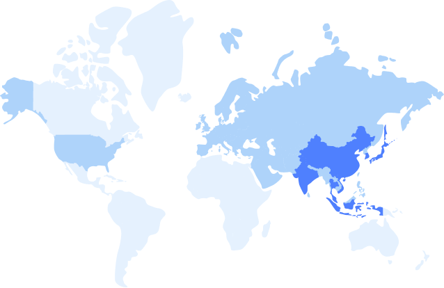 Map showing haulage coverage across the world