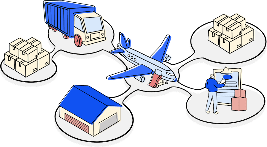 trucker, haulage, air cargo, customs house agent and logistics of goods