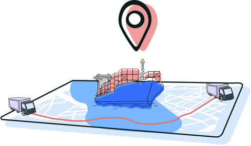 Map with tracking for haulage and shipping