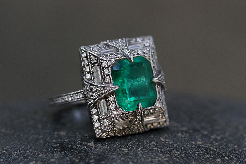 Photo of Cathy Waterman platinum and emerald ring.