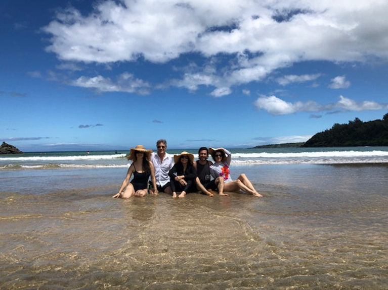 Photo of Cathy Waterman's family at the beach.