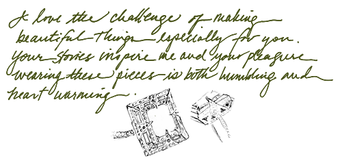 Sketch of custom platinum and emerald rings.