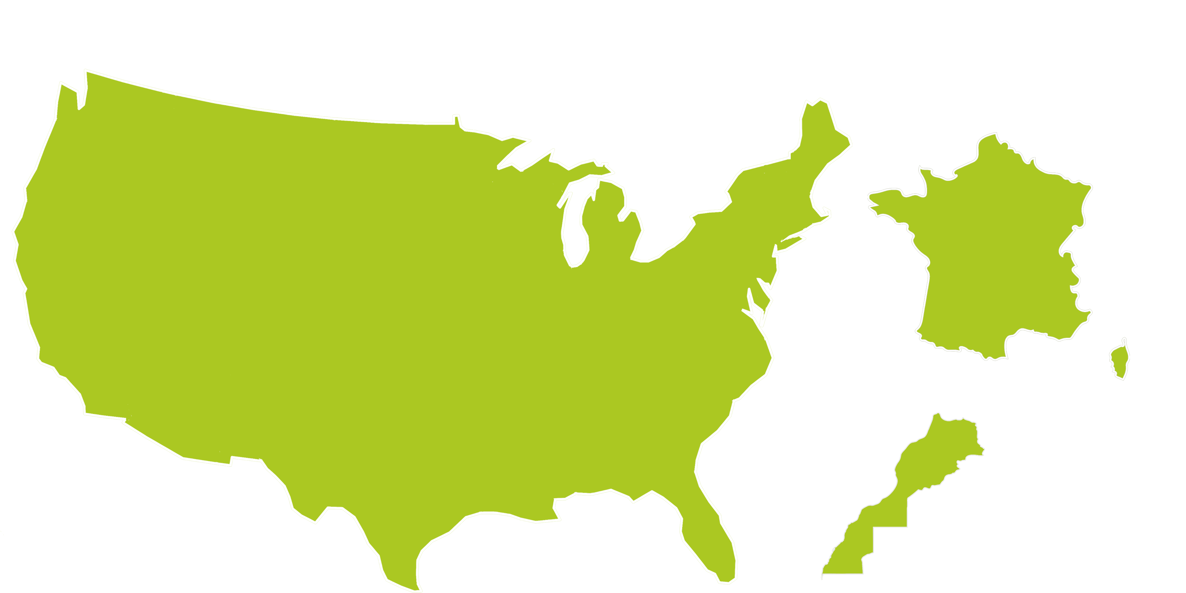 Image of the Map of the United States, France and Morocco, indicating locations where Cathy Waterman jewelry is sold.