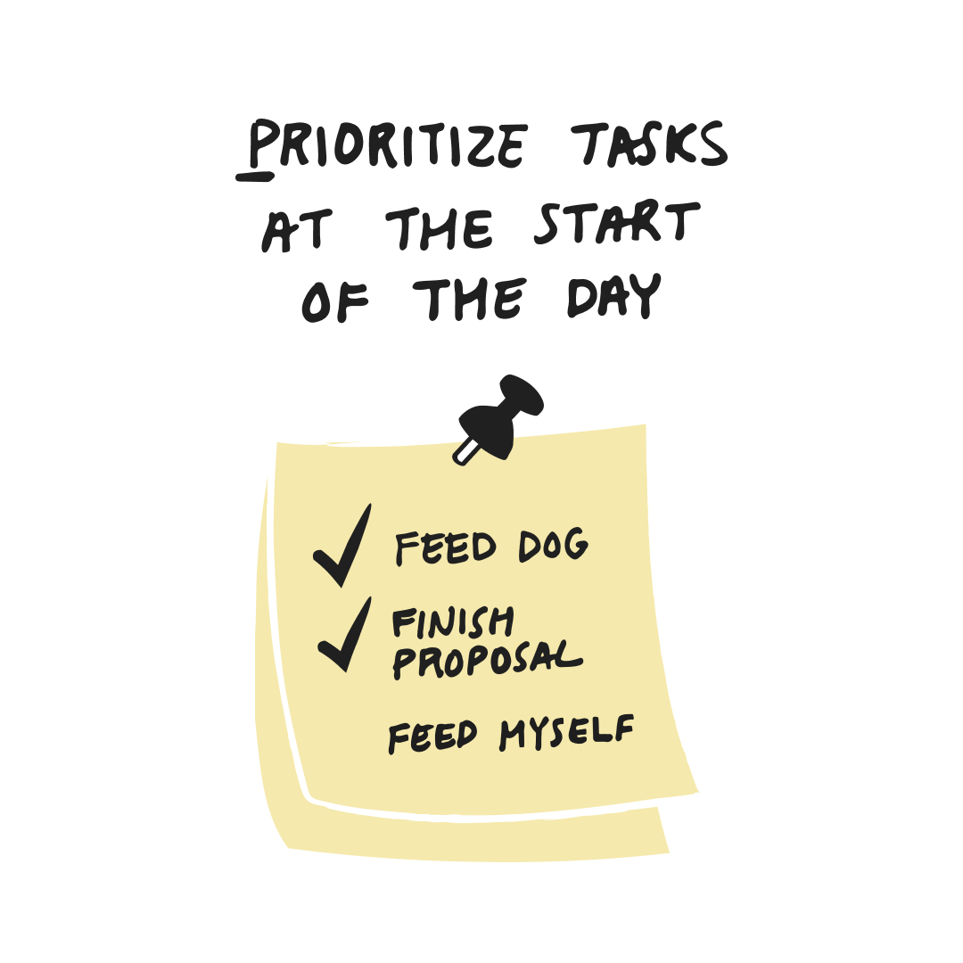 guide to working from home - prioritize tasks at the start of the day