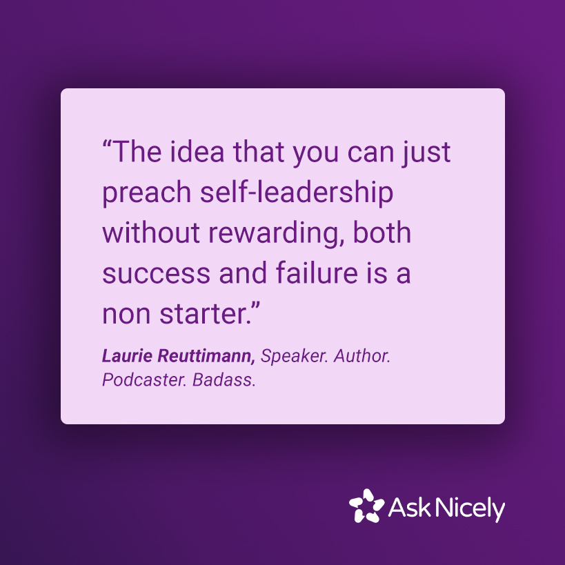 the idea that you can just preach self-leadership quote on purple background with asknicely logo