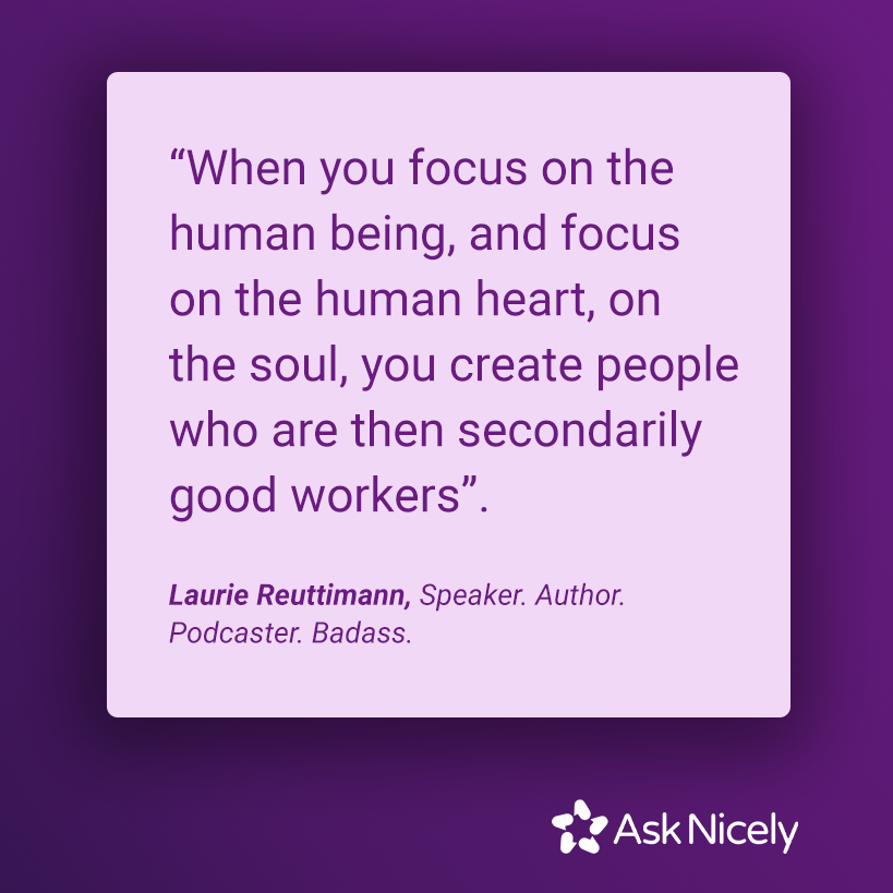 When you focus on the human being quote on purple background with AskNicely logo