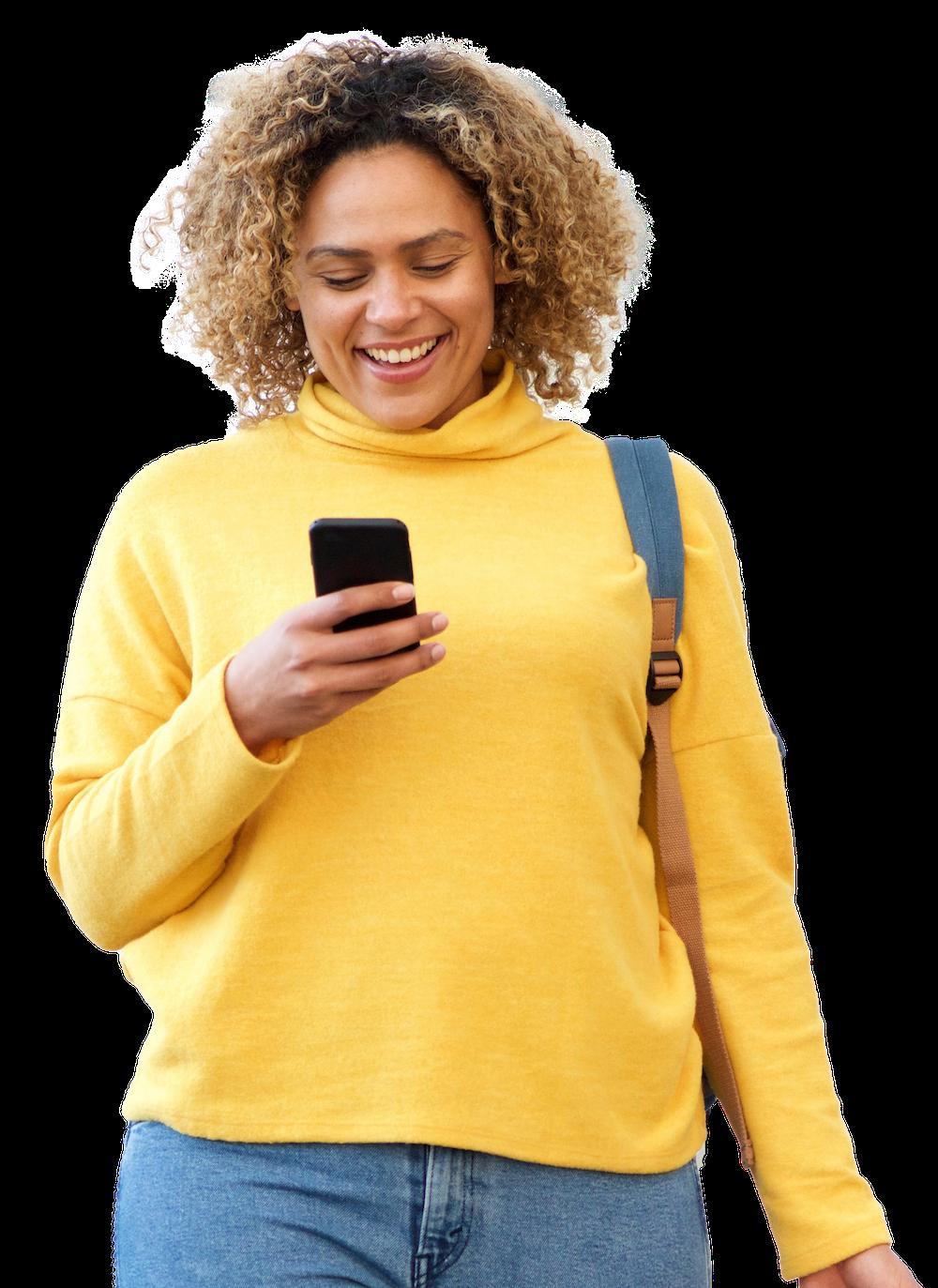 happy female customer provides feedback on phone