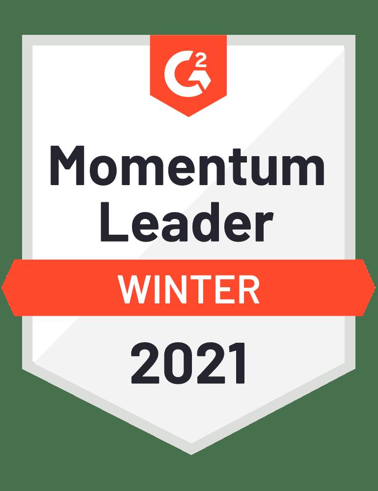 G2 Badge Momentum Leader 2021 Winter Experience Management
