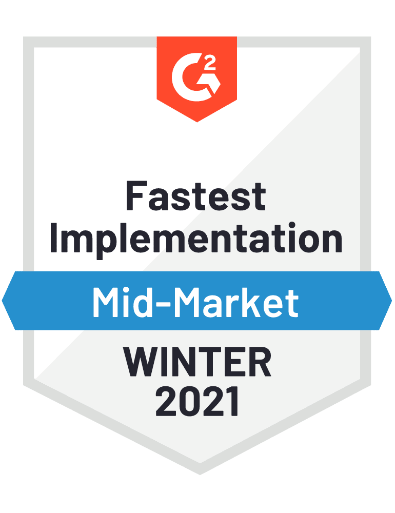 G2 Badge fastest implementation 2021 Winter Experience Management