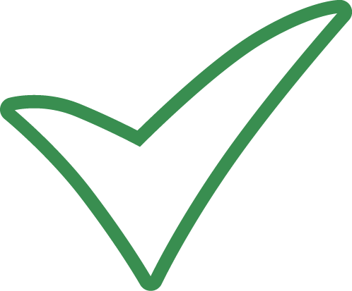 green outline of a check mark