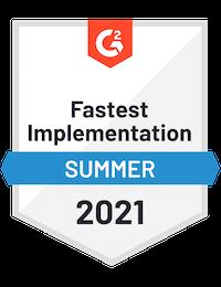 G2 Badge Fastest Implementation Summer 2021