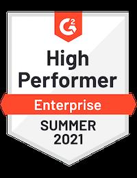 G2 Badge High Performer Enterprise Summer 2021