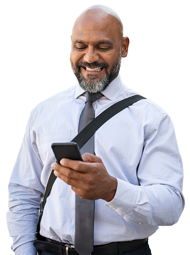 happy businessman checking results on phone while walking