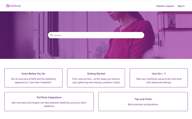 AskNicely help center home page